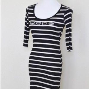 Bebe maxi backless stripe stretch dress bodycon